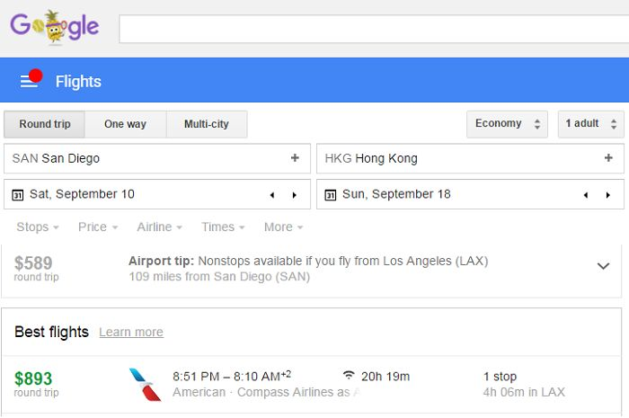 "Google Flights Extends ""Tips"" to Provide Inexpensive Hotel Bookings"