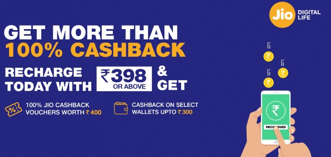 Whopping Rs. 3300 Cashback Offer By Jio On Rs. 398 Recharge